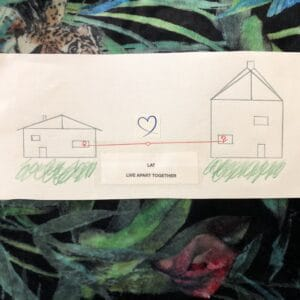 drawing of 2 houses joined by love